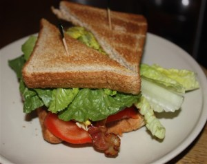 Bacon, tomato, egg and lettuce on whole wheat bread