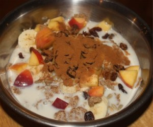 Bran flakes and fruit with almond milk
