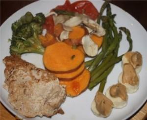 Chicken breast, asparagus, mushrooms, sweet potato, broccoli, tomato, banana with peanut butter