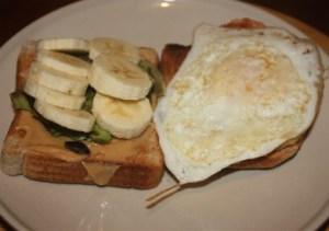 Whole Wheat toast with pb , avocado, banana, egg, peameal bacon