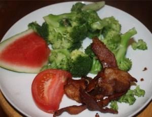 Bacon, broccoli, watermelon and tomato