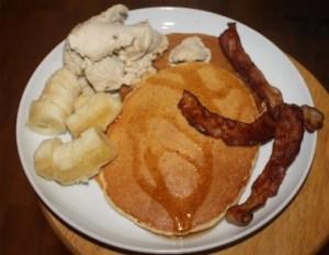 banana, pancakes with syrup, bacon and peacan caramel crunch frozen yogurt.